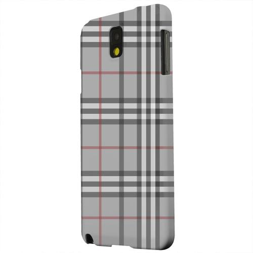 Geeks Designer Line (GDL) Samsung Galaxy Note 3 Matte Hard Back Cover - Classic Gray/ White/ Red Plaid