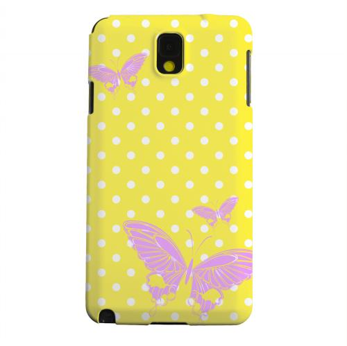Geeks Designer Line (GDL) Samsung Galaxy Note 3 Matte Hard Back Cover - Pink Butterfly on White Polka Dots
