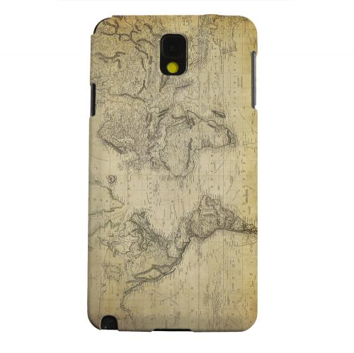 Geeks Designer Line (GDL) Samsung Galaxy Note 3 Matte Hard Back Cover - Vintage World Map Circa 1800's