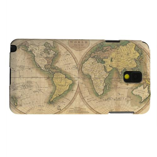 Geeks Designer Line (GDL) Samsung Galaxy Note 3 Matte Hard Back Cover - Map of the World Circa 1770's