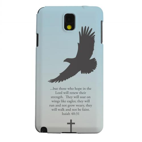Geeks Designer Line (GDL) Samsung Galaxy Note 3 Matte Hard Back Cover - Isaiah 40:31 - Faint Blue