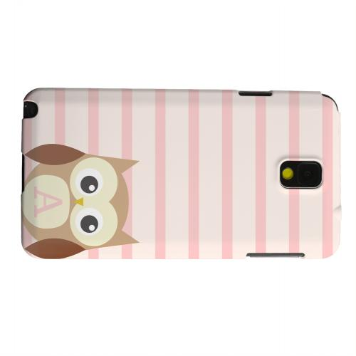 Geeks Designer Line (GDL) Samsung Galaxy Note 3 Matte Hard Back Cover - Brown Owl Monogram A on Pink Stripes