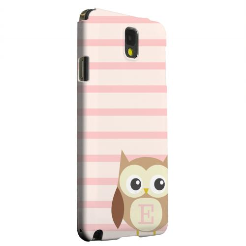 Geeks Designer Line (GDL) Samsung Galaxy Note 3 Matte Hard Back Cover - Brown Owl Monogram E on Pink Stripes