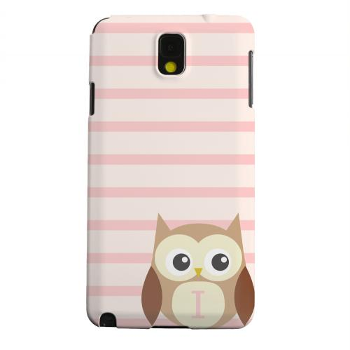 Geeks Designer Line (GDL) Samsung Galaxy Note 3 Matte Hard Back Cover - Brown Owl Monogram I on Pink Stripes