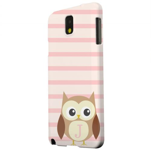 Geeks Designer Line (GDL) Samsung Galaxy Note 3 Matte Hard Back Cover - Brown Owl Monogram J on Pink Stripes