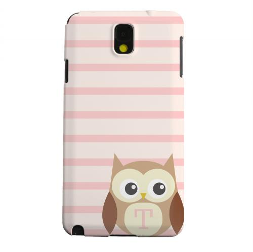 Geeks Designer Line (GDL) Samsung Galaxy Note 3 Matte Hard Back Cover - Brown Owl Monogram T on Pink Stripes
