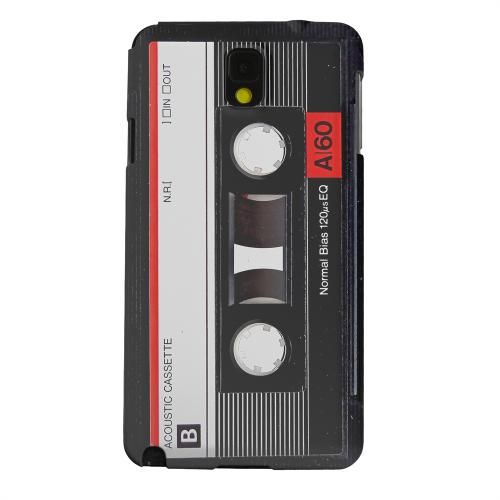 Geeks Designer Line (GDL) Samsung Galaxy Note 3 Matte Hard Back Cover - Black Acoustic Cassette