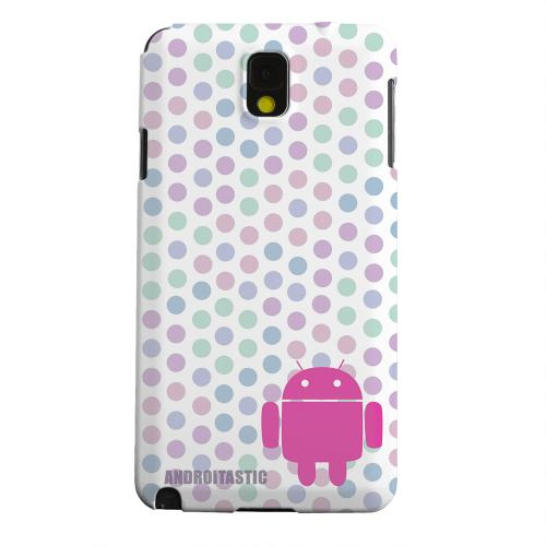 Geeks Designer Line (GDL) Samsung Galaxy Note 3 Matte Hard Back Cover - Pink Robot on Pastel Polka Dots