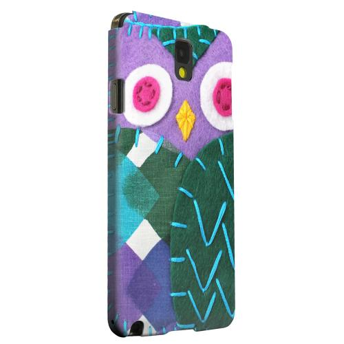 Geeks Designer Line (GDL) Samsung Galaxy Note 3 Matte Hard Back Cover - Purple/ Green Owl