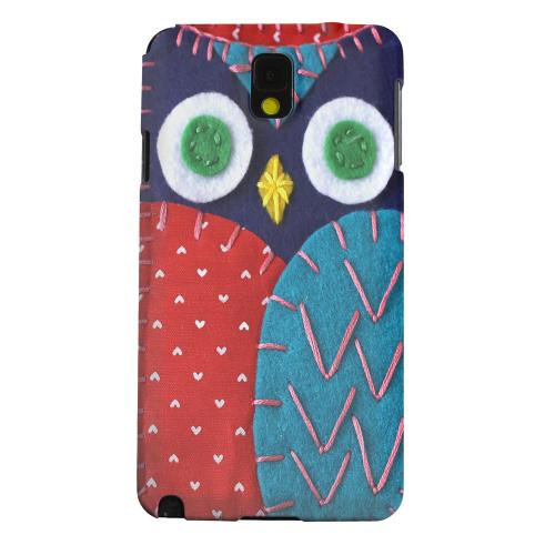 Geeks Designer Line (GDL) Samsung Galaxy Note 3 Matte Hard Back Cover - Dark Blue/ Red Owl