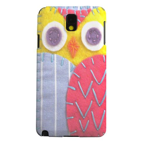 Geeks Designer Line (GDL) Samsung Galaxy Note 3 Matte Hard Back Cover - Yellow/ Pink Owl