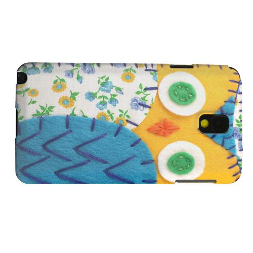 Geeks Designer Line (GDL) Samsung Galaxy Note 3 Matte Hard Back Cover - Gold/ Blue Owl
