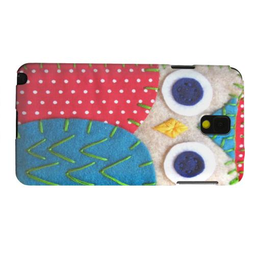 Geeks Designer Line (GDL) Samsung Galaxy Note 3 Matte Hard Back Cover - White/ Blue Owl