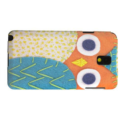 Geeks Designer Line (GDL) Samsung Galaxy Note 3 Matte Hard Back Cover - Orange/ Blue Owl