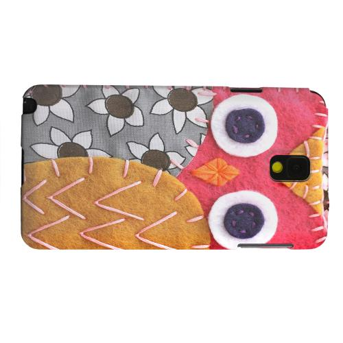 Geeks Designer Line (GDL) Samsung Galaxy Note 3 Matte Hard Back Cover - Hot Pink/ Dark Blue Owl