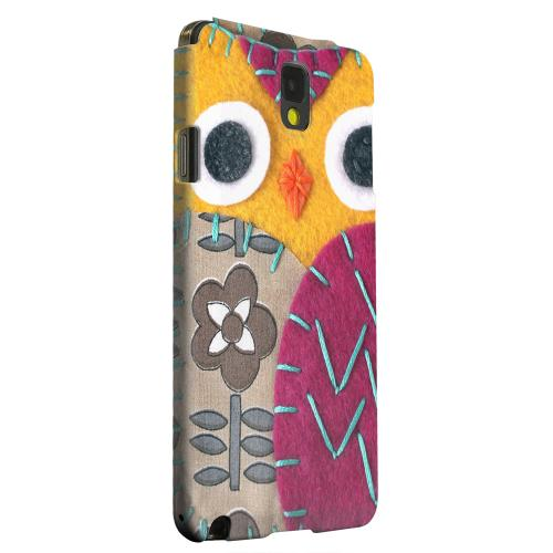 Geeks Designer Line (GDL) Samsung Galaxy Note 3 Matte Hard Back Cover - Yellow/ Purple Owl
