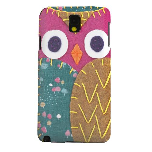 Geeks Designer Line (GDL) Samsung Galaxy Note 3 Matte Hard Back Cover - Hot Pink/ Brown Owl