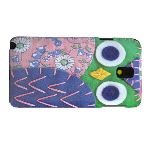 Geeks Designer Line (GDL) Samsung Galaxy Note 3 Matte Hard Back Cover - Green/ Blue Owl