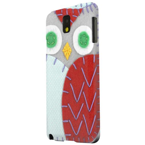 Geeks Designer Line (GDL) Samsung Galaxy Note 3 Matte Hard Back Cover - Gray/ Red Owl