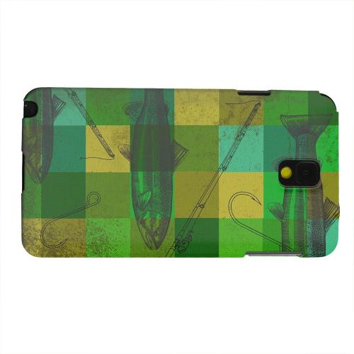 Geeks Designer Line (GDL) Samsung Galaxy Note 3 Matte Hard Back Cover - Green Plaid Trout Design