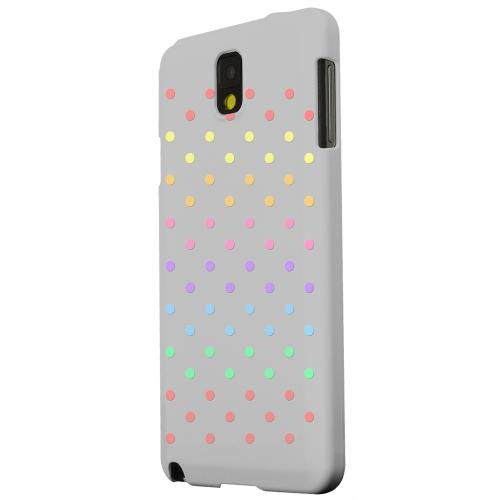Geeks Designer Line (GDL) Samsung Galaxy Note 3 Matte Hard Back Cover - Rainbow Dots on Gray