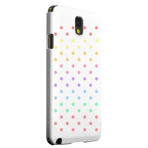 Geeks Designer Line (GDL) Samsung Galaxy Note 3 Matte Hard Back Cover - Rainbow Dots on White