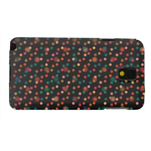 Geeks Designer Line (GDL) Samsung Galaxy Note 3 Matte Hard Back Cover - Faded Rainbow Dots on Black