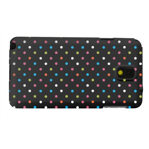 Geeks Designer Line (GDL) Samsung Galaxy Note 3 Matte Hard Back Cover - Retro Rainbow Dots on Black