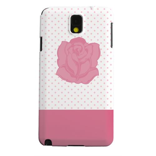 Geeks Designer Line (GDL) Samsung Galaxy Note 3 Matte Hard Back Cover - Pink Rose on White