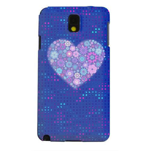 Geeks Designer Line (GDL) Samsung Galaxy Note 3 Matte Hard Back Cover - Shimmer Blue Dots & Heart