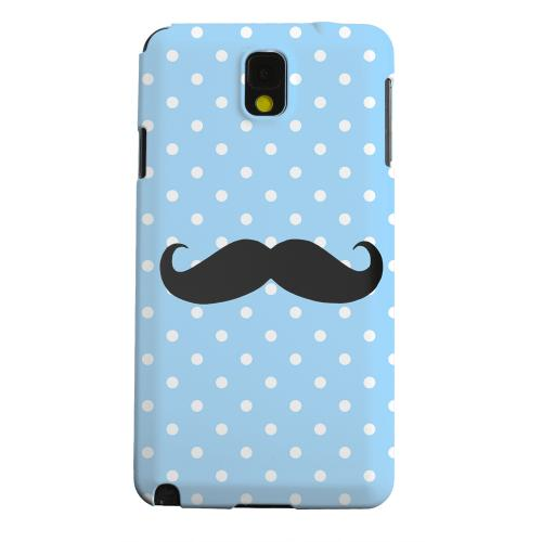 Geeks Designer Line (GDL) Samsung Galaxy Note 3 Matte Hard Back Cover - Stache on Sky Blue