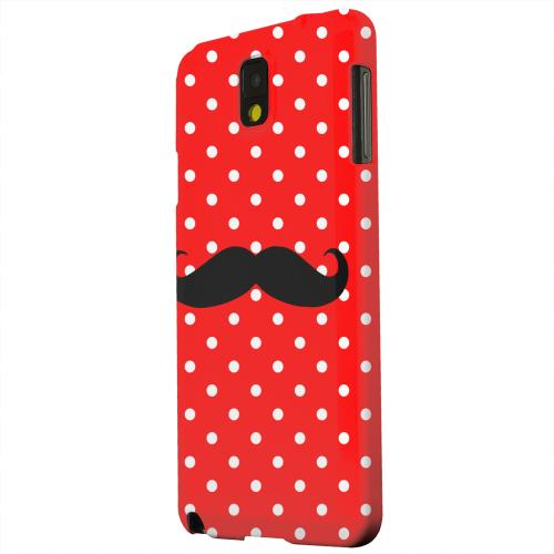 Geeks Designer Line (GDL) Samsung Galaxy Note 3 Matte Hard Back Cover - Stache on Red