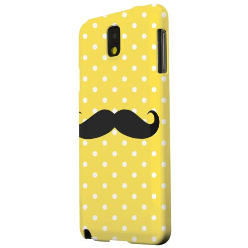 Geeks Designer Line (GDL) Samsung Galaxy Note 3 Matte Hard Back Cover - Stache on Yellow
