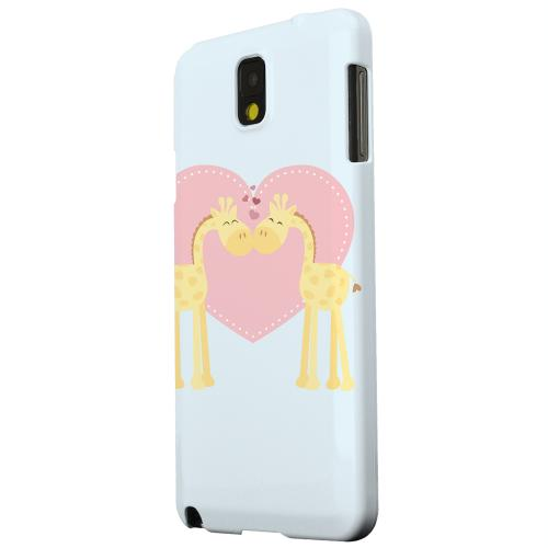 Geeks Designer Line (GDL) Samsung Galaxy Note 3 Matte Hard Back Cover - Giraffe Love on Baby Blue
