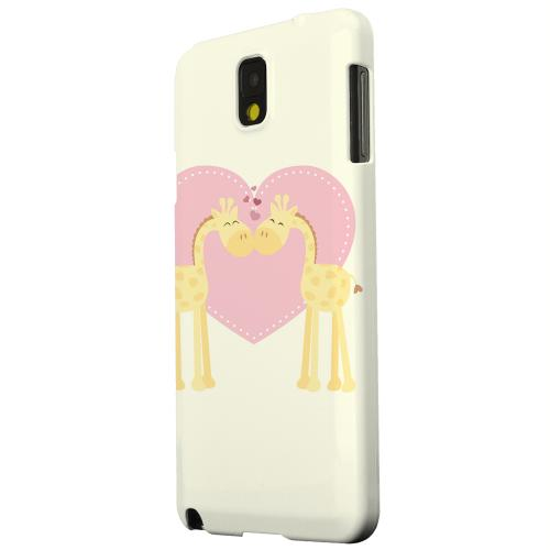 Geeks Designer Line (GDL) Samsung Galaxy Note 3 Matte Hard Back Cover - Giraffe Love on Light Yellow