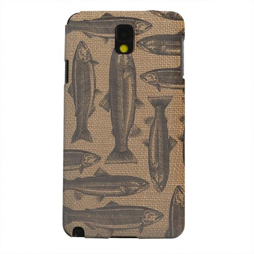 Geeks Designer Line (GDL) Samsung Galaxy Note 3 Matte Hard Back Cover - Vintage Salmon & Trout on Burlap