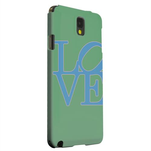 Geeks Designer Line (GDL) Samsung Galaxy Note 3 Matte Hard Back Cover - Blue Love on Green