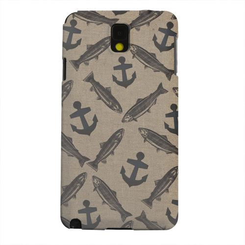 Geeks Designer Line (GDL) Samsung Galaxy Note 3 Matte Hard Back Cover - Vintage Salmon/Trout/Anchor Design