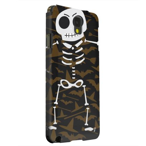 Geeks Designer Line (GDL) Samsung Galaxy Note 3 Matte Hard Back Cover - Dancing Skeleton on Witch Hat/Broom/Bat