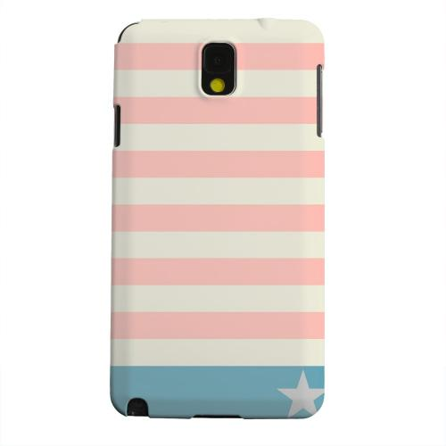 Geeks Designer Line (GDL) Samsung Galaxy Note 3 Matte Hard Back Cover - Bars & Stripes Forever on Pink/ Teal