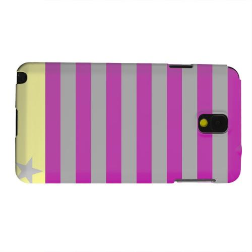 Geeks Designer Line (GDL) Samsung Galaxy Note 3 Matte Hard Back Cover - Bars & Stripes Forever on Purple/ Yellow
