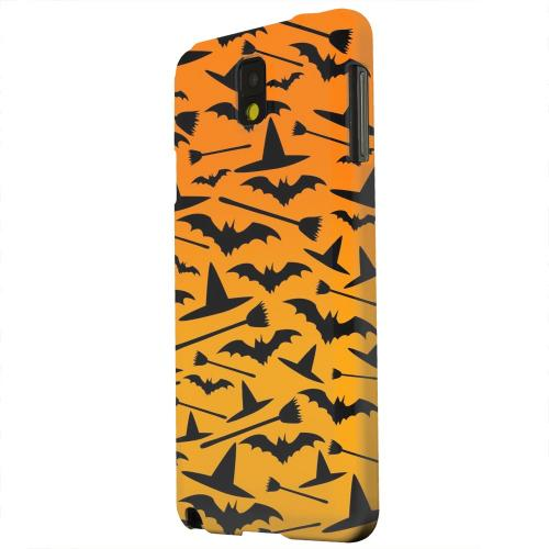 Geeks Designer Line (GDL) Samsung Galaxy Note 3 Matte Hard Back Cover - Witch Hat/Broom/Bat on Orange