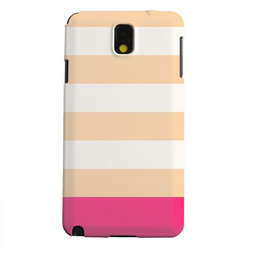 Geeks Designer Line (GDL) Samsung Galaxy Note 3 Matte Hard Back Cover - Pink Candy Stripes w/ Pink Bar