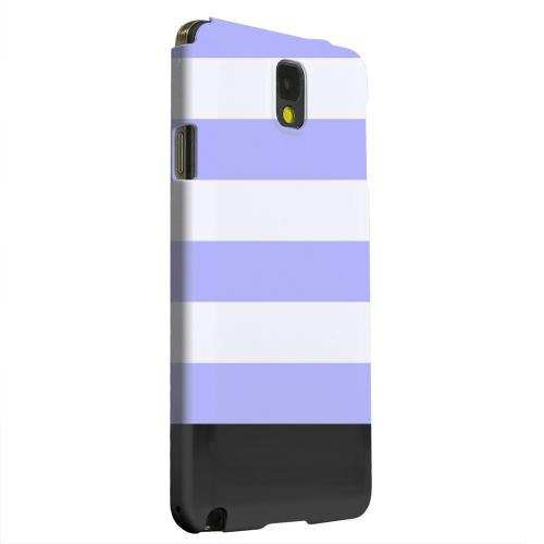 Geeks Designer Line (GDL) Samsung Galaxy Note 3 Matte Hard Back Cover - Purple Candy Stripes w/ Black Bar