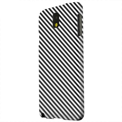 Geeks Designer Line (GDL) Samsung Galaxy Note 3 Matte Hard Back Cover - Thin Black/ White Diagonal