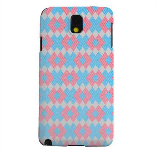 Geeks Designer Line (GDL) Samsung Galaxy Note 3 Matte Hard Back Cover - Blue/ Pink Embroidery