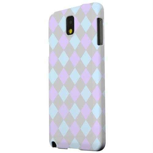 Geeks Designer Line (GDL) Samsung Galaxy Note 3 Matte Hard Back Cover - Gray/ Blue/ Purple Argyle