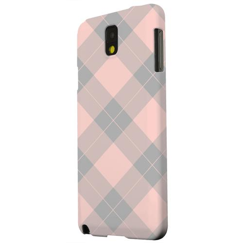 Geeks Designer Line (GDL) Samsung Galaxy Note 3 Matte Hard Back Cover - Pink/ Gray Simple Plaid