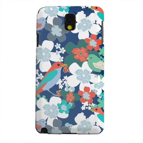Geeks Designer Line (GDL) Samsung Galaxy Note 3 Matte Hard Back Cover - Birds & Flowers on Blue/ Red
