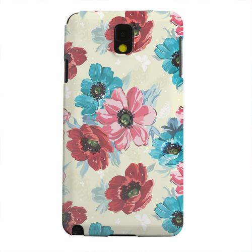 Geeks Designer Line (GDL) Samsung Galaxy Note 3 Matte Hard Back Cover - Blue/ Red Floral